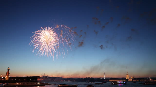 fireworks over the river neva - firework display stock videos & royalty-free footage