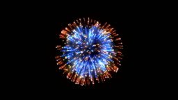 Fireworks, red and blue holiday background, against black