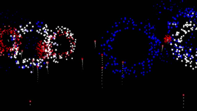 fireworks red white blue with stars - firework display stock videos & royalty-free footage