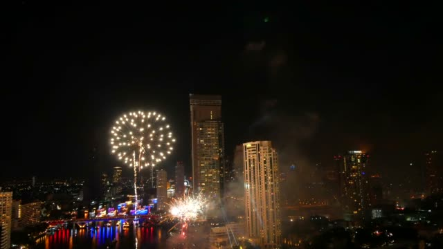 fireworks show above river - explosive stock videos & royalty-free footage