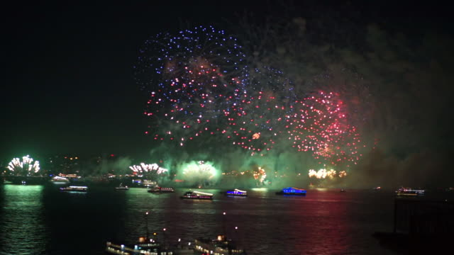 fireworks show in istanbul bosphorus - istanbul stock videos & royalty-free footage