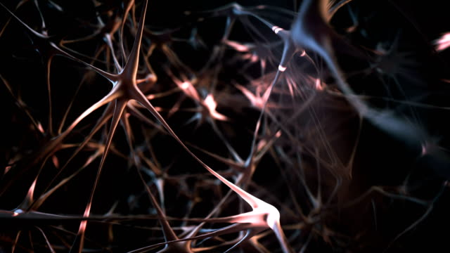 firing neurons tracking shot (red) - loop - biochemistry stock videos & royalty-free footage
