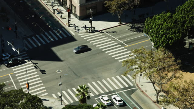 first and spring, dtla from above - road junction stock videos & royalty-free footage