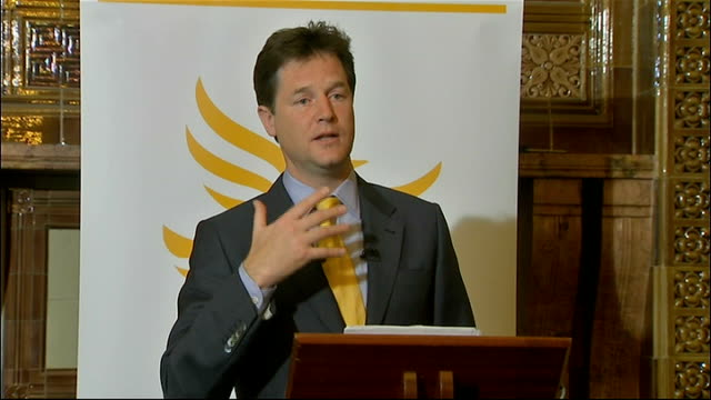 first anniversary of coalition government: nick clegg promises to be more assertive; england: london: int nick clegg mp speaking at podium sot - if... - politics and government stock videos & royalty-free footage