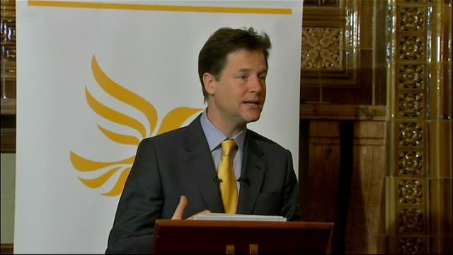 first anniversary of the coalition government: nick clegg speech; nick clegg speech continued sot recent weeks have served as a healthy reminder of... - main course stock videos & royalty-free footage