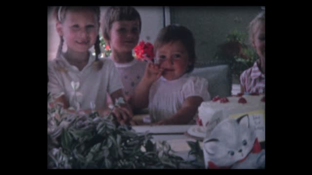 1962 first birthday cake for girl and friends - birthday stock videos & royalty-free footage