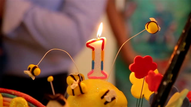 first birthday candles - birthday cake stock videos & royalty-free footage