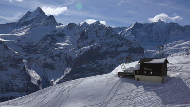 First Cable Car with Schreckhorn, Grindelwald, Bernese Alps, Switzerland, Europe
