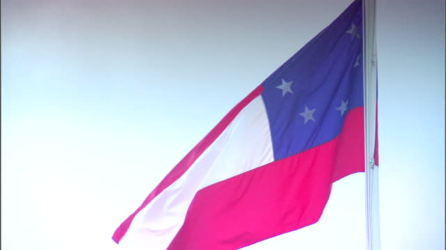 First Confederate National flag flying on pole American Civil War Federal fort Confederate Union