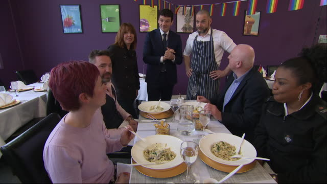 first dates host fred siriex has been teaching the inmates at hmp isis to cook. shows: fred with kay burley, with the former teaching prisoners how... - prisoner education stock videos & royalty-free footage