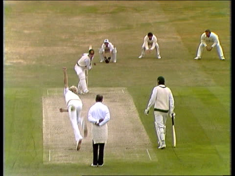 first day of 3rd cornhill test; england headingley brearley and botham chat on pitch botham to wood: out: all congratulate gv botham to chappell:... - fielder stock videos & royalty-free footage