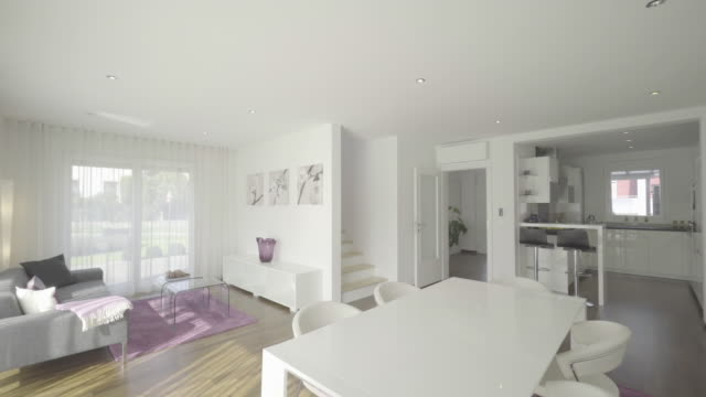 first floor of modern house - wohnraum stock-videos und b-roll-filmmaterial