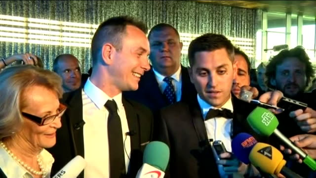 first gay marriage takes place in montpellier vincent and bruno autin boileau speaking to press sot we are very pleased and honoured to do this... - モンペリエ点の映像素材/bロール
