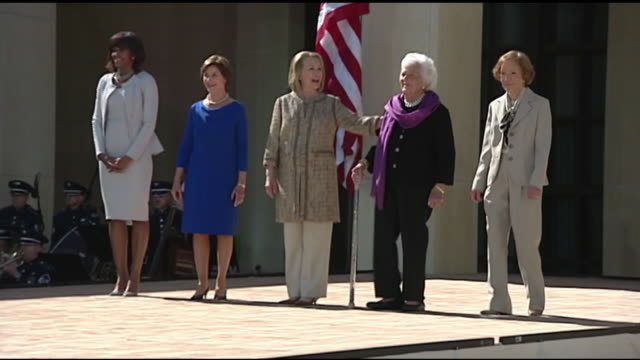 first ladies are announced at bush library opening - laura bush stock videos & royalty-free footage