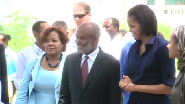 us first lady and wife of vice president jill biden meet with president of haiti rene preval in port au prince 13 april 2010 - first lady stock-videos und b-roll-filmmaterial
