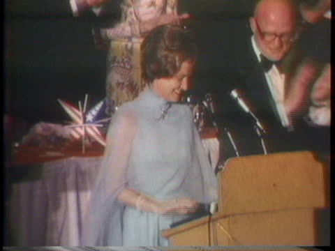 first lady betty ford and us vice president nelson rockefeller stand in front of the crowd at the new york gop state committees annual dinner - dinner lady stock videos & royalty-free footage