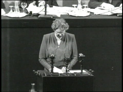 stockvideo's en b-roll-footage met first lady eleanor roosevelt delivers a speech about universal declaration of human rights at a united nations meeting - 1948