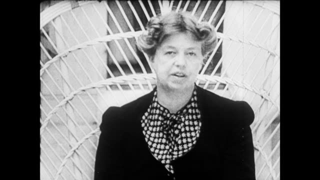 first lady eleanor roosevelt sitting in a chair talking first lady eleanor roosevelt on january 01 1935 - 1935 stock videos & royalty-free footage
