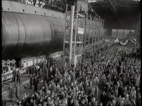 first lady mamie eisenhower launches the first atomic sub nautilus - groton connecticut stock videos & royalty-free footage