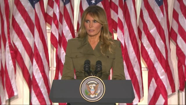first lady melania trump acknowledges in a televised white house rose garden address to the 2020 republican national convention that since march... - political party stock videos & royalty-free footage