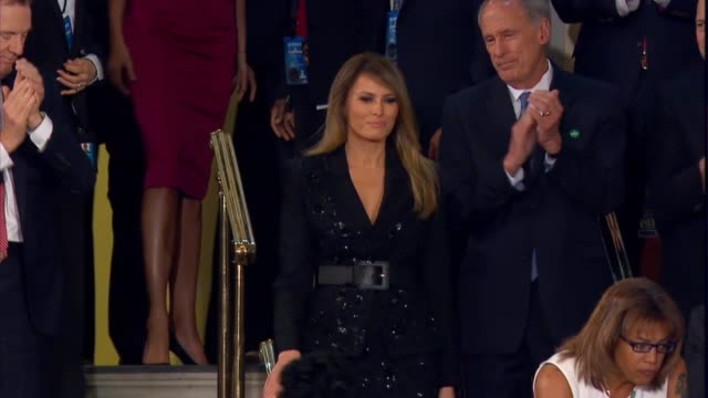 first lady melania trump is applauded as she takes her seat at the first state of the union address of recently inaugurated president donald trump - amtseinführung stock-videos und b-roll-filmmaterial