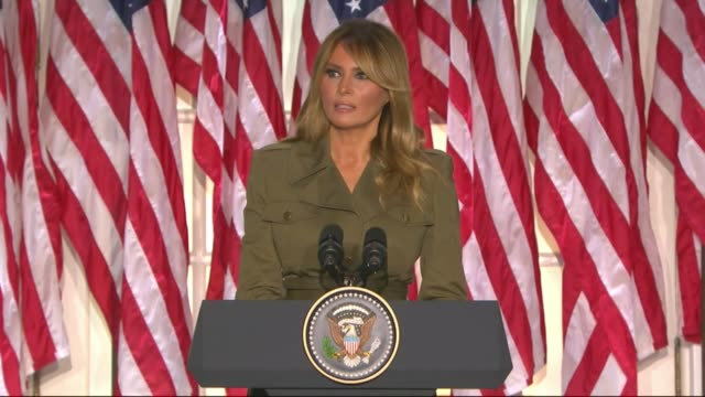 first lady melania trump says in a televised white house rose garden address to the 2020 republican national convention that she and president donald... - first lady stock videos & royalty-free footage