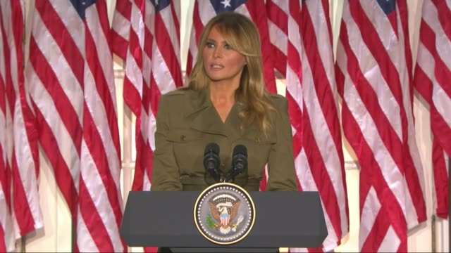 first lady melania trump says in a televised white house rose garden address to the 2020 republican national convention that instead of tearing... - first lady stock videos & royalty-free footage
