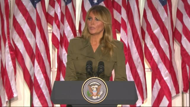 first lady melania trump says in a televised white house rose garden address to the 2020 republican national convention that despite what was being... - first lady stock videos & royalty-free footage