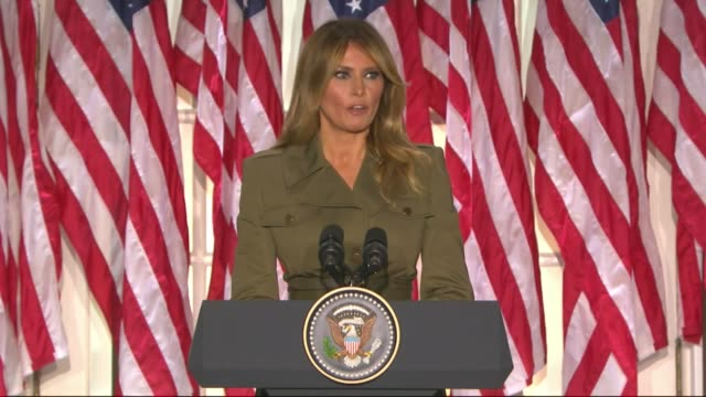 first lady melania trump says in a televised white house rose garden address to the 2020 republican national convention that her parents worked very... - first lady stock videos & royalty-free footage