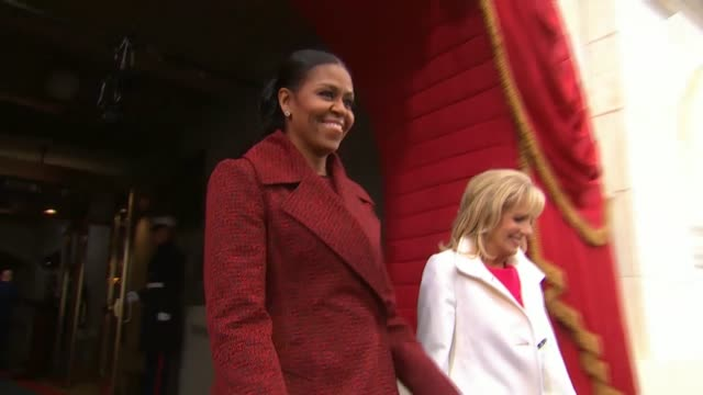 first lady michelle obama and dr jill biden arrive at donald trump's inauguration - amtseinführung stock-videos und b-roll-filmmaterial