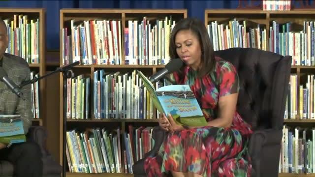 KTVI First Lady Michelle Obama and Reading Rainbow host Levar Burton Read Burton's Book to Students at Thayer Elementary School in St Robert Missouri...