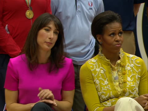 first lady michelle obama and samantha cameron sitting at mini olympics event - sport stock videos & royalty-free footage