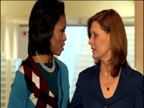 first lady michelle obama and sarah brown pose for photographers at royal opera house during first official foreign visit 2 april 2009 - roh moo hyun stock videos & royalty-free footage