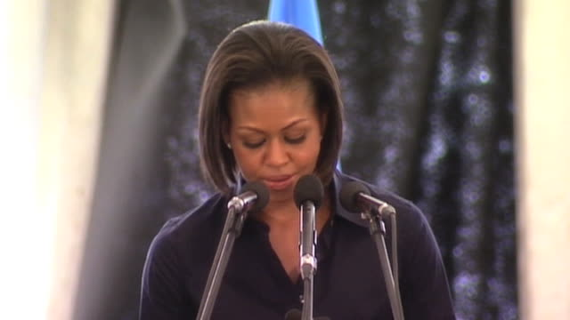 stockvideo's en b-roll-footage met us first lady michelle obama confirms global support for haiti 13 april 2010 - 2010