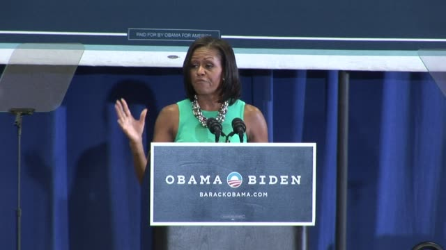first lady michelle obama made an appeal to women voters on thursday saying that their success is key to her husband barack obama who as the son of a... - 2012 stock videos & royalty-free footage