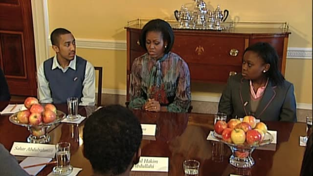 first lady michelle obama welcomes group of british students to the white house washington d.c.; 19 february 2010 - first lady stock videos & royalty-free footage