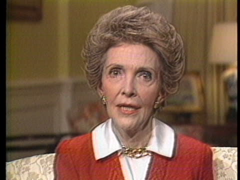 us first lady nancy reagan says when it comes to drugs and alcohol just say no - temptation stock videos & royalty-free footage