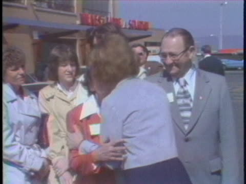 first lady rosalynn carter campaigns after arriving at the wilkes-barre/scranton international airport in pennsylvania. - wilkes barre stock videos & royalty-free footage