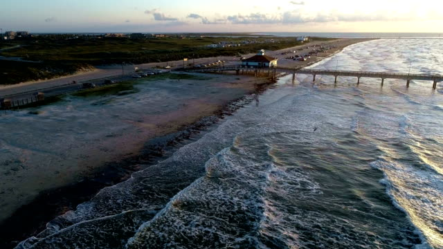 first light as sun rises over gulf of mexico and hits port aransas pier and sand dunes of padre island coastline - gulf of mexico stock videos & royalty-free footage