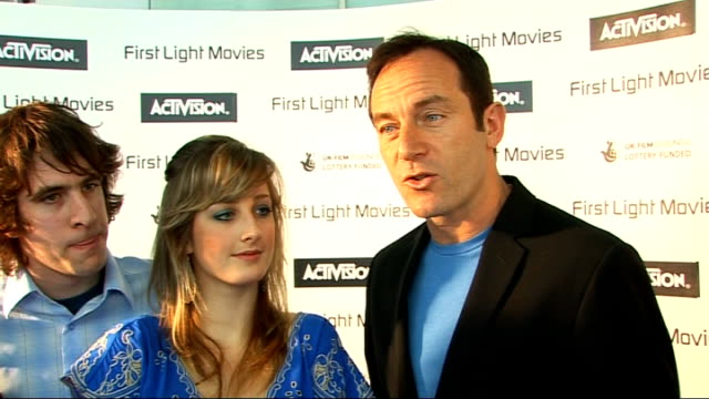 first light film awards: interviews; jason isaacs and winners best thriller 'rite of passage interview sot - on the award / on who they have got to... - film award type stock videos & royalty-free footage