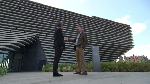 first look inside new v&a dundee; uk, scotland, dundee; general views of v&a dundee museum, rrs discovery ship, kengo kuma interview, philip long... - スコットランド ダンディー点の映像素材/bロール