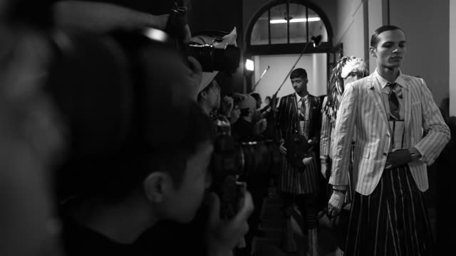 first looks at paris fashion week womenswear fall/winter 2020/2021 - thom browne fall/winter 2020/2021 on march 01, 2020 in paris, france. - arts culture and entertainment stock videos & royalty-free footage