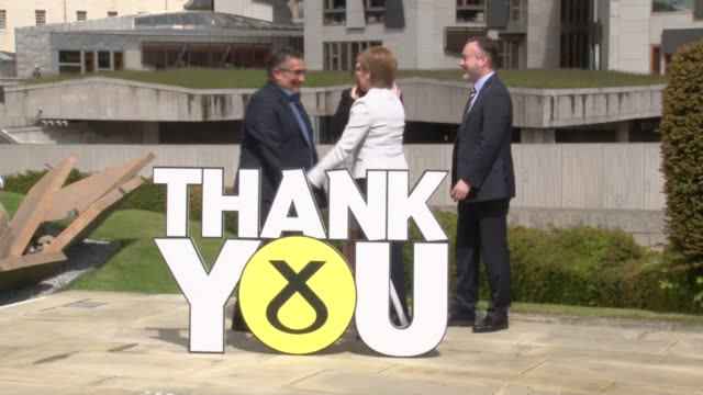 first minister nicola sturgeon celebrates the snp's best-ever performance in a european election with the party's three meps. - nicola sturgeon stock videos & royalty-free footage
