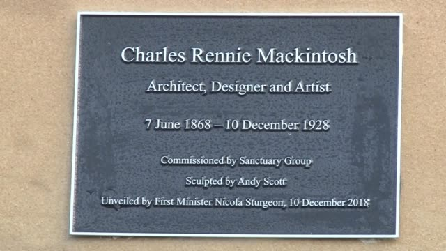 first minister nicola sturgeon formally unveiled the statue of charles rennie mackintosh on the 90th anniversary of his death includes interview with... - charles rennie mackintosh stock videos and b-roll footage
