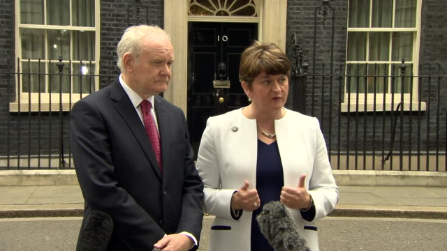 first minister of northern ireland arlene foster, alongside deputy first minister martin mcguinness, emphasising the importance of northern ireland... - dup stock-videos und b-roll-filmmaterial