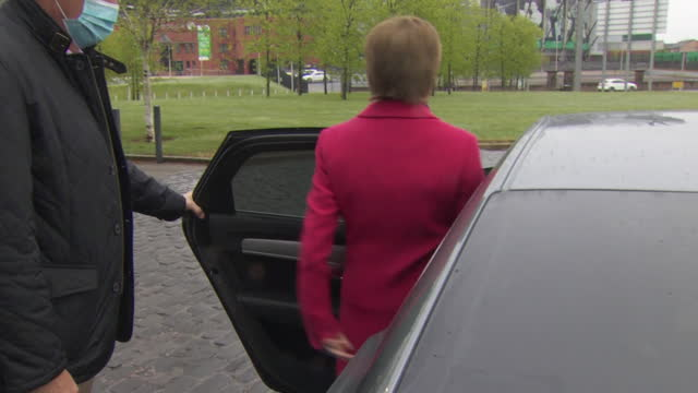 first minister of scotland nicola sturgeon getting into a car - land vehicle stock videos & royalty-free footage