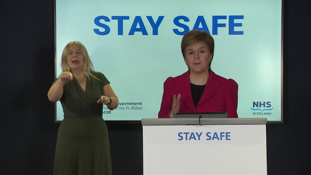 """first minister of scotland nicola sturgeon saying glasgow will move to coronavirus level 2 """"if collective efforts continue"""" - effort stock videos & royalty-free footage"""
