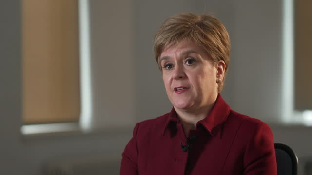 """first minister of scotland nicola sturgeon saying """"i have never known the nhs to be under pressure as intense as it is right now"""" in regards to covid - politics and government stock videos & royalty-free footage"""