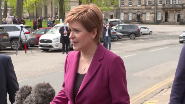 first minister of scotland nicola sturgeon saying the snp have won the scottish elections with a mandate to pursue a second independence referendum - pursuit concept stock videos & royalty-free footage