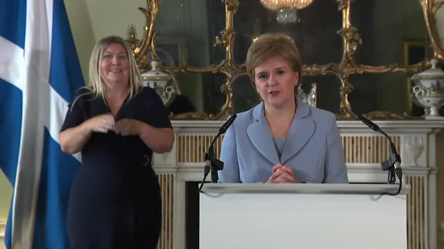 """first minister of scotland nicola sturgeon saying the snp's formal partnership with the scottish greens makes it """"impossible to resist"""" calls for a... - coworker stock videos & royalty-free footage"""
